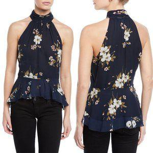 Joie navy blue Abbigayl floral silk peplum top